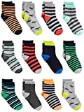 Simple Joys by Carter's Baby Boys' Toddler 12-Pack Sock Crew, Stripe, Dino, 4T/5T