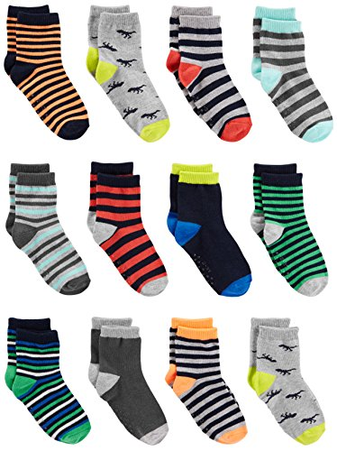 (Simple Joys by Carter's Baby Boys' Toddler 12-Pack Sock Crew, Stripe, Dino, 2T/3T)