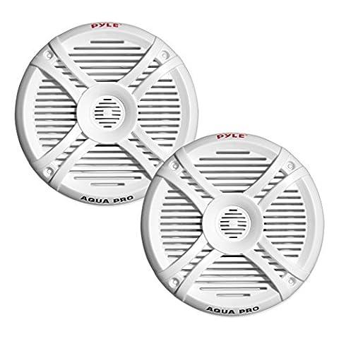 Pyle Dual 6.5'' Water Resistant Marine Speakers, 2-Way Full Range Stereo Sound, 250 Watt, White (White Ion Speaker)