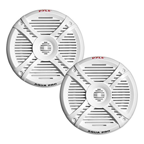 250 Watt Marine Speaker System - Water Resistant Dual 2 Way 6.5 Inch Outdoor Stereo Audio Sound Speakers w/ 65Hz-20kHz Frequency Response, Heavy Duty 35oz Magnet Structure - Pyle PLMRX67 (White, Pair)