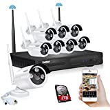 TMEZON Better Than 720P 8CH 960P HD WI-FI NVR Security Wireless Network System With 1.3MP Night Vision IP Surveillance Camera Kit CCTV Security System Smartphone Quick View 2TB HDD