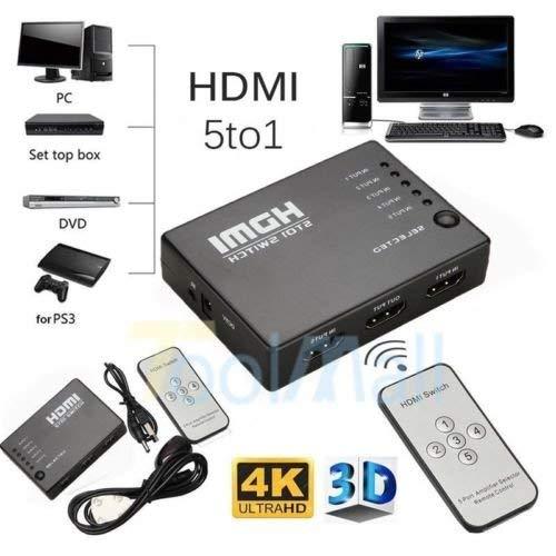 3 Port UHD 3D 4K 1080p HDMI Splitter Switch Selector Switcher Hub IR Remote KJ