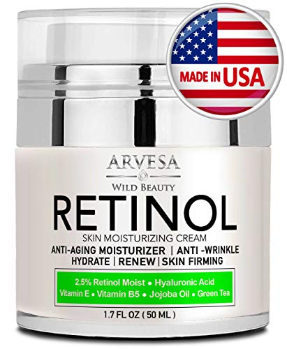 (Natural Retinol Moisturizer Cream for Face and Eye Area - Made in USA - with Hyaluronic Acid - Active Retinol 2.5% - Anti Aging Face Cream to Reduce Wrinkles & Fine Lines - Best Day and Night )