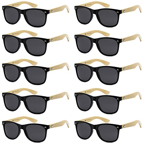 WHOLESALE BAMBOO ECO FRIENDLY MODERN RETRO 80'S CLASSIC SUNGLASSES - 10 PACK (Gloss Black | Smoke Lens, ()