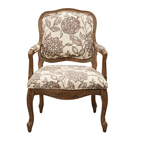 Madison Park FPF18-0501 Monroe Accent Chairs - Hand Carving Birch Wood Frame Deep Seat Bedroom Lounge Modern Classic Camel Back Style Living Room Sofa Furniture, Ivory Floral (Glider Cushion Rocker World)
