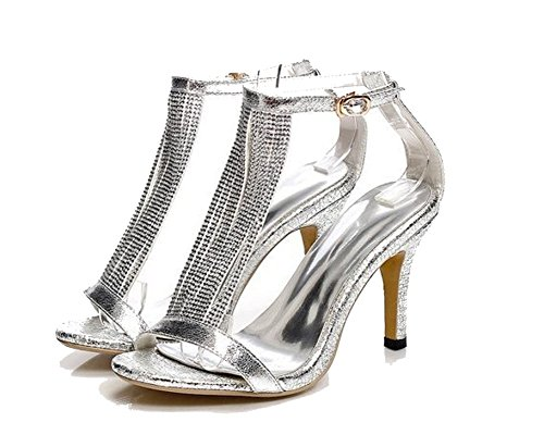 New Sexy High Heel Sandals Women Ladies Fashion Sexy Peep Toe Dancing Sandals Size 33-39,Silver,4