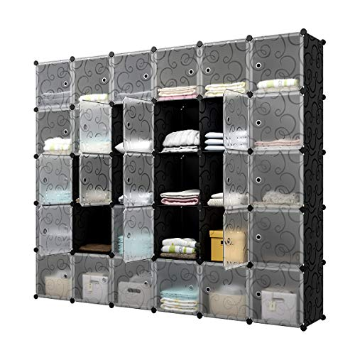 "KOUSI Portable Cube Storage - 14""x14"" Cube Cube Organizer Storage Organizer Clothes Storage Storage Shelves Shelf for Clothes Plastic Dresser Storage Cubes, Black (6x5 Cubes)"