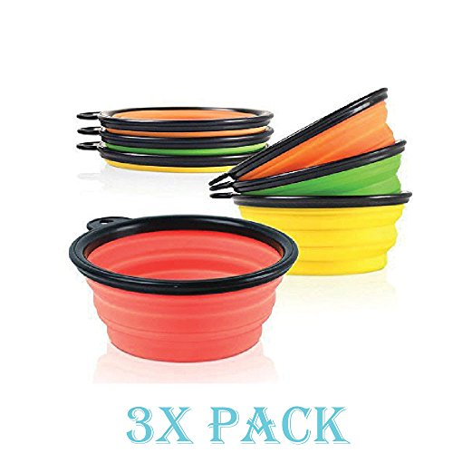 Eagle Dry Goods (3 Pack Collapsible Dog Bowl Foldable Expandable Dish for Pet Cat Food Water Food)