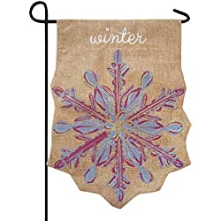 Snowflake Winter Embellished Shaped Burlap Garden Flag