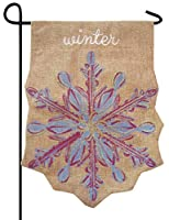 Evergreen Snowflake Winter Embellished Shaped Burlap Garden Flag 12.5 x 18 inches