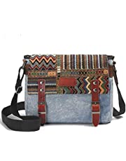 Canvas Messenger Bag for Women,Uarzt Vintage Shoulder Bag School College Satchel, fits Ipad, Kindle,Samsung (greyish-green)