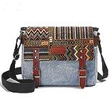 Canvas Messenger Bag for Women,Uarzt Vintage Shoulder Bag School College Satchel, fits Ipad, Kindle,Samsung (Blue)