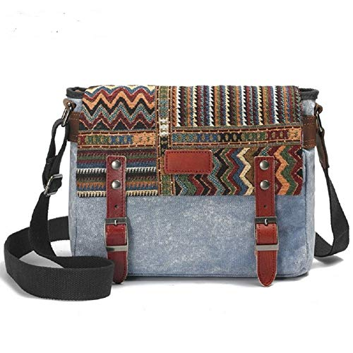 Canvas Messenger Bag for Women,Uarzt Vintage Shoulder Bag School College Satchel, fits Ipad, Kindle,Samsung (Blue)
