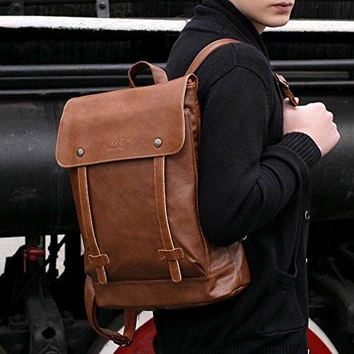 ELEAR® Vintage-Leder Herren Rucksack Messenger Taschen Satchel Laptop Reise Rucksack Tief Kaffee