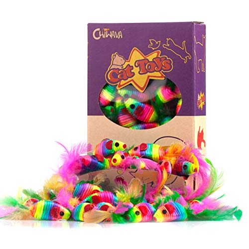 Chiwava 24PCS 5 Rattle Cat Toys Mice with Feather Rainbow Rope Mouse Kitten Interactive Toy Assorted Color