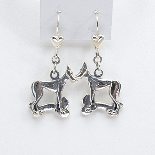 Great Dane Earring - Sterling Silver Great Dane Earrings, Silver Great Dane Jewelry fr Donna Pizarro's Animal Whimsey Collection