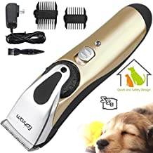 Ephram Professional Electric Pet Dog Grooming Clippers Kit, Rechargeable Cordless Dogs Cats Hair Trimming Clipper Tools Set Low Noise Animal Clippers Hair Cutter Shaver Razor With 2 Comb Guides Attachment Cleaning Brush Detachable Blade for Quick Safe Cutting