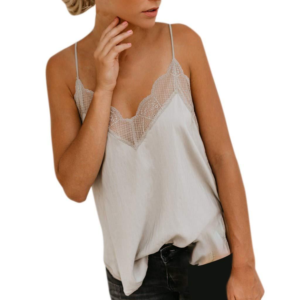 Garish Women's Lace Trim V Neck Strappy Tank Tops Loose Soild Vest Casual Sling T Shirt Beige