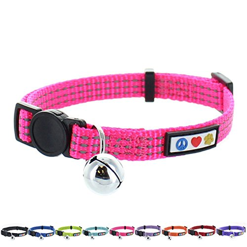 Breakaway Safety Nylon Cat Collar (Pawtitas Pet Reflective Cat Collar with Safety Buckle and Bell Pink)
