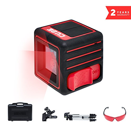 ADA Cube Ultimate Edition, Laser Level, Crossline Self-Leveling Laser Level complete Kit, 20 meters (65 feet) tripod, universal clamp and glasses included (Crossline Laser Level Kit)