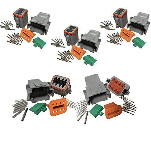 5 Kits, 6 Pin IMAGINE 5 Kit 6 Pin Way DT Series Connector Gray Receptacle IP67 Waterproof Heavy Duty 14-20 AWG 13 Amps Continuous DT04-6P DT04-6S w//Wedge Lock W6P W6S