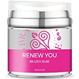 "Anti Aging Night Cream,""Renew You"" by Brazen Babe- Scientifically Proven Natural Face and Neck Moisturizer with Squalane and Hyaluronic Acid Targets Telomeres for DNA Repair"