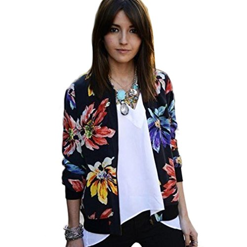NEARTIME Jackets for Women, Long Sleeve Floral Zipper Blazer Suit Coat Outwear (XL)