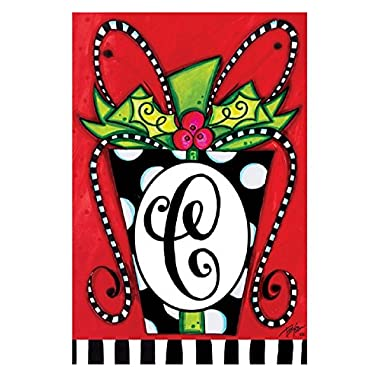 Christmas Gift Monogram C Double-Sided, Garden Size 12 inch x 18 inch Decorative Flag