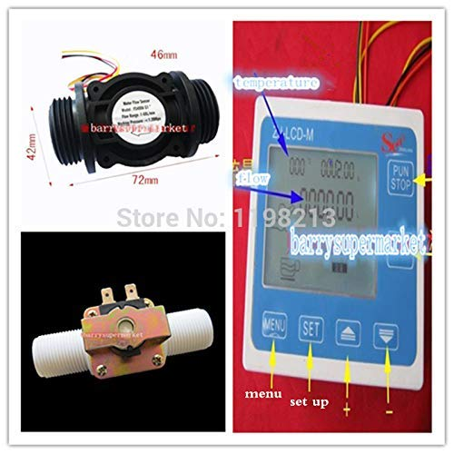 FS400A Durchflussmesser G1Wasserdurchflussmesser Sensor Z/ähler Indikator Controller LCD Display Magnetventil Manometer DN25