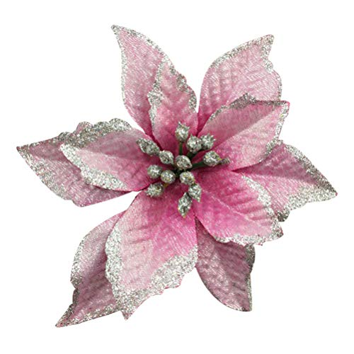 YJBear 10 pcs 5 Inch Glitter Artificial Poinsettia Flower Accessories Christmas Decoration Christams Tree Ornaments Wedding Party Flower Home Decor Pink