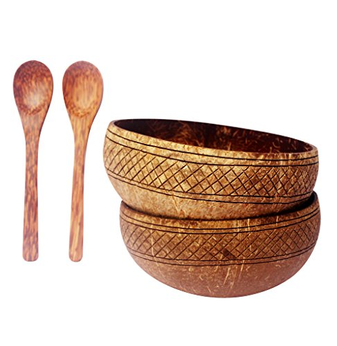 VIBE Natural Hand Carved Coconut Bowls (Set of 2) With 2 Wooden Spoons - Made with LOVE by Artisans I Great Vegan Gift I Perfect for Buddha Smoothie Bowls I Fair Trade (Koa)
