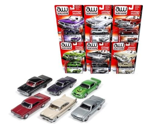 New 1:64 AUTO WORLD PREMIUM SERIES RELEASE 5B COLLECTION - VINTAGE MUSCLE & CLASSIC CHROME SET Diecast Model Car By Auto World Set of 6 Cars