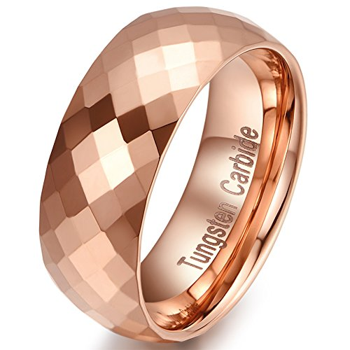 Estate Rose Gold Ring - 8mm Multi Faceted Tungsten Carbide Engagement Wedding Band Rose Gold Ring for mens Comfort Fit Size  -9