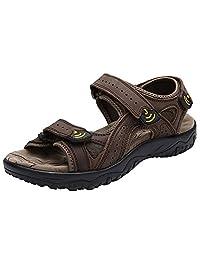 Rismart Men's Genuine Leather Hook And Loop Sandals Lightweight Outdoor Summer Sneakers