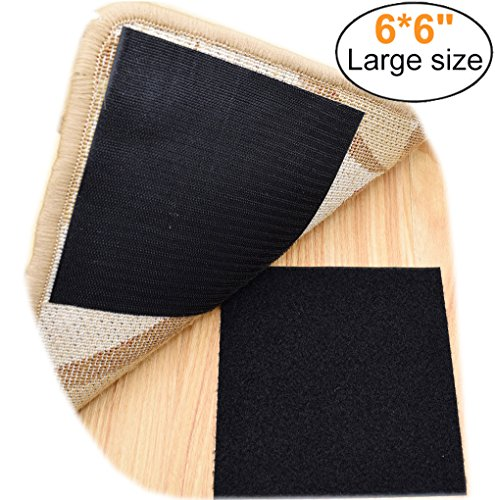 Yorwe Rug Anchors, Larger Size and Stronger Sticky Non-slip Mat with Hook and Loop Square By (4, Black)