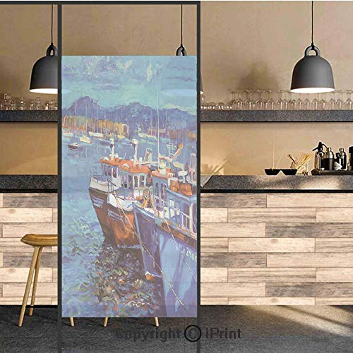 3D Decorative Privacy Window Films,Image of Sail Boats Ships on the Shore Harbor by the Sea Small Rural Fishing Town Art Work,No-Glue Self Static Cling Glass film for Home Bedroom ()