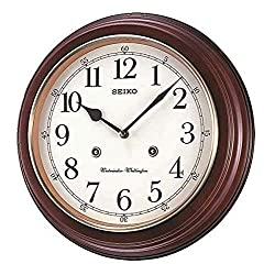 Seiko Round Wood Grain Finish Wall Clock with Dual Quarter Hour Chimes, Brown