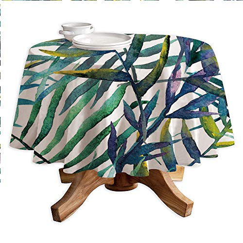 (Leaf Round Polyester Tablecloth,Watercolor Artwork of Tropical Island Vegetation Colorful Palm Leaves Decorative,Dining Room Kitchen Round Table Cover,55