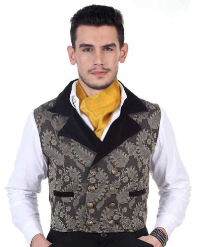 Double Breasted Velvet Costumes (Steampunk Victorian Doublet-Breasted Brocade Vest - Grey/Black - Large Grey/Black)