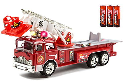 Fire Truck Riding Pedal Car (Fire Engine Truck Kids Toyl Kids Toy with Extending Ladder & Lights & Siren Sounds Vocal Phrases Bump & Go Action)
