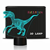 Dinosaur 3D Night Light Jurassic Velociraptor Projection LED Lamp Baby Nursery Nightlight for Kids' Room Home Décor Xmas Birthday Gifts with 7 Color Changing
