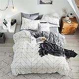 Omelas Plaid Stripe Reversible Duvet Cover Set, 100% Cotton Soft Durable Bedding, Black Grid Geometric Modern Simple Pattern Printed on White (King Size, 3 Pcs)