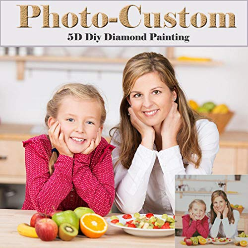 Personalized Photo Customized Diamond Painting Kits, Private Custom Full Diamond Painting Picture with Round/Square Beads for Home Decor ()