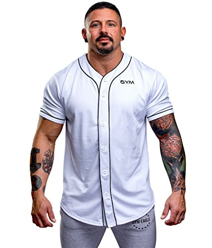 Gym Eagle Men's Baseball Button Down Jersey Hipster Hip Hop T Shirts (Large, White) (Large Eagles Jersey)