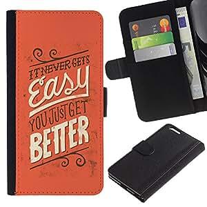 KingStore / Leather Etui en cuir / Apple Iphone 6 PLUS 5.5 / Fácil Mejor Nunca inspirador mensaje