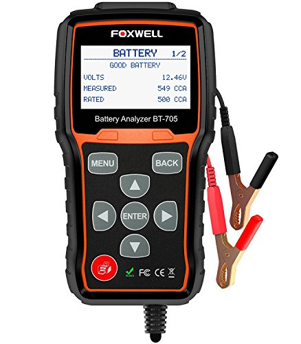 Battery Tester FOXWELL BT705 Automotive 100-2000 CCA Battery Load Tester, 12V 24V Car Cranking and Charging System Test Scan Tool Digital Battery Analyzer for Cars and Heavy Duty Trucks (Clore Battery Tester)