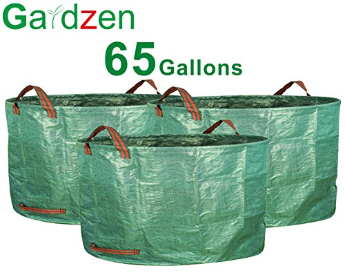 Gardzen Garden Waste Bag With Large Capacity - 8.6 Cubic Foot Reuseable Heavy Duty Leaf Waste Bag - Suitable For Pruning Bushes (65 Gallon, Pack of 3) by Gardzen