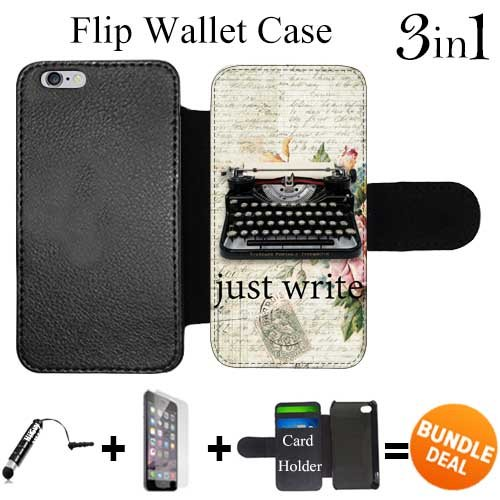 Flip Wallet Case for iPhone 6/6S (Vintage Type Writer Quote) with Adjustable Stand and 3 Card Holders | Shock Protection | Lightweight | Includes HD Tempered Glass and Stylus Pen by Innosub Wallet Writer