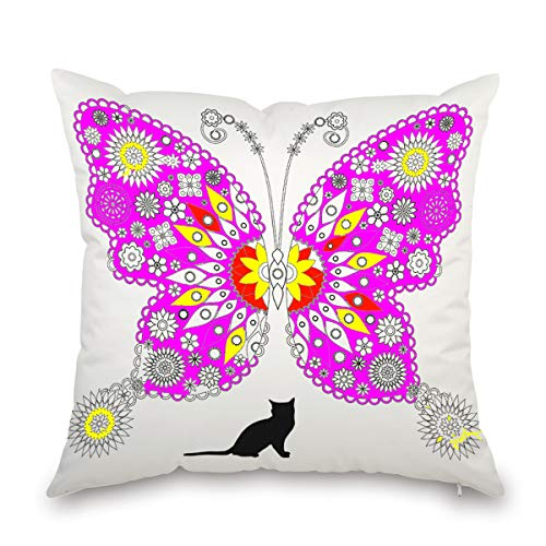 (JES&MEDIS DIY Graffiti Pillowcase Home Decorations Craft Kit Butterfly Pattern Coloring Pillow Cover Square 18