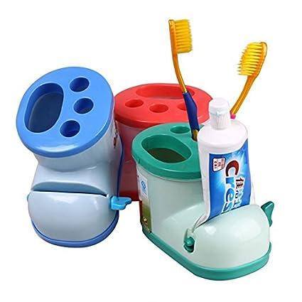 Generic New Creative multifuncional botas soporte de cepillo de dientes con pasta de dientes exprimidor de